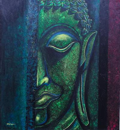 Expressionist Buddha Painting in Green from Thailand