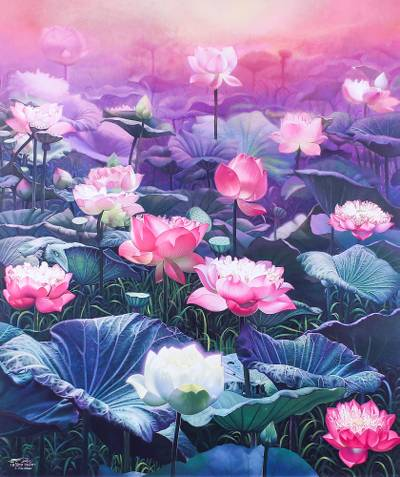 'Lotus Sunset' (2019) - Signed Realist Painting of Lotus Flowers (2019)