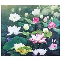 'Lotus at Dawn' (2019) - Realist Painting of Pink and White Lotus Flowers (2019)