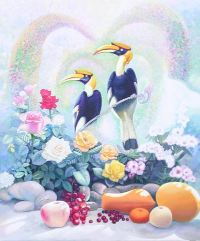 'A Couple' - Signed Surrealist Painting of Two Hornbills from Thailand