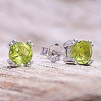 Peridot stud earrings, 'Sparkling Gems'