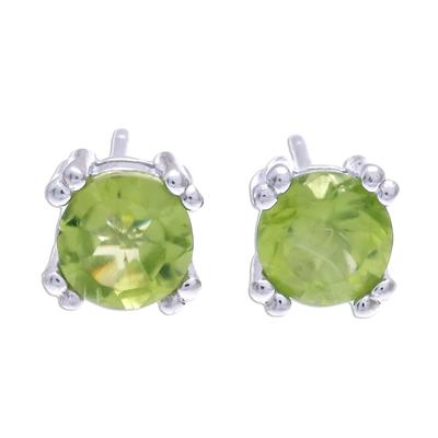 Peridot stud earrings, 'Sparkling Gems' - Faceted Peridot Stud Earrings from Thailand