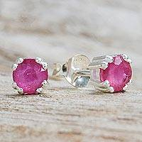 Ruby stud earrings, 'Sparkling Gems' - Faceted Ruby Stud Earrings from Thailand