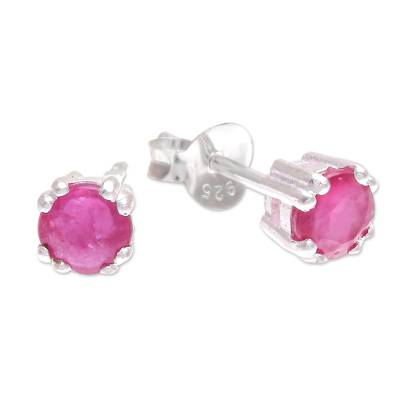Faceted Ruby Stud Earrings from Thailand