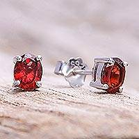 Garnet stud earrings, 'Fiery Marvel'