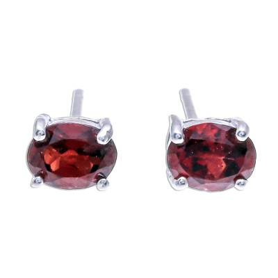 Garnet stud earrings, 'Fiery Marvel' - Faceted Garnet Stud Earrings from Thailand
