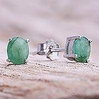 Emerald stud earrings, 'Verdant Marvel'