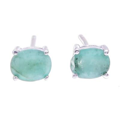Emerald stud earrings, 'Verdant Marvel' - Faceted Emerald Stud Earrings from Thailand