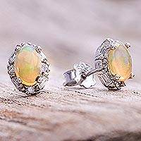 Opal stud earrings, 'Bright Ovals' - Oval Opal Stud Earrings from Thailand
