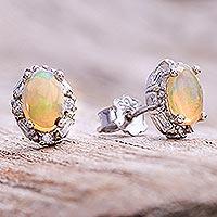 Opal stud earrings, 'Bright Ovals' - Oval Opal Stud Earrings from Thailand