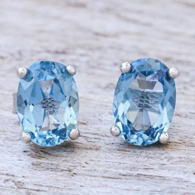 Blue topaz stud earrings, London Ovals