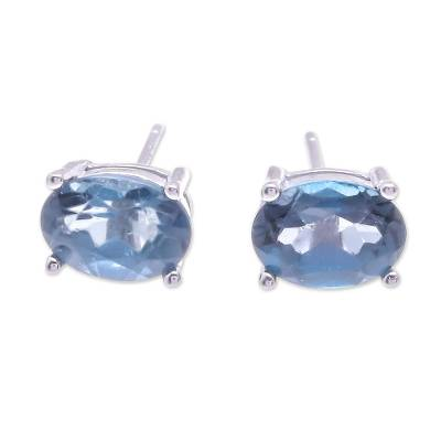 Faceted Blue Topaz Stud Earrings from Thailand