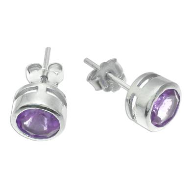 Amethyst stud earrings, 'Round Star' - Round Amethyst Stud Earrings from Thailand