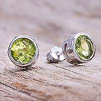 Peridot stud earrings, 'Round Star' - Round Peridot Stud Earrings from Thailand