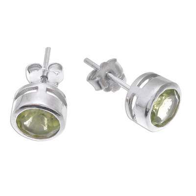 Peridot stud earrings, 'Round Star' - Round Peridot Stud Earrings from Thailand