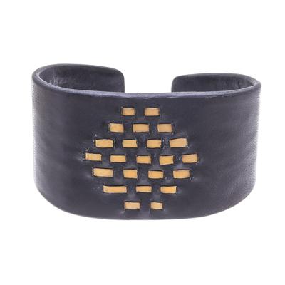 Diamond Pattern Leather and Brass Cuff Bracelet