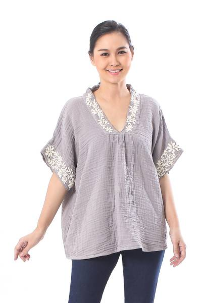 Cotton blouse, 'Classic Bloom in Ash' - Floral Embroidered Cotton Blouse in Ash from Thailand