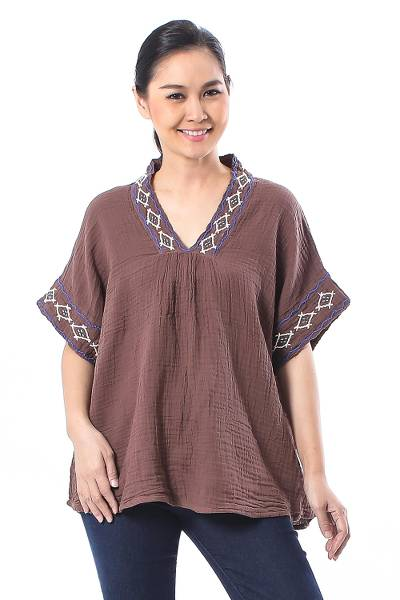 Cotton blouse, 'Classic Diamonds' - Embroidered Cotton Blouse in Mahogany from Thailand