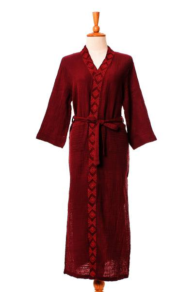 Embroidered Cotton Robe in Cerise and Strawberry