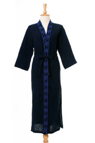 Diamond Embroidered Cotton Robe in Midnight from Thailand