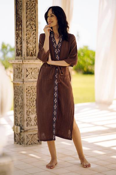 Cotton robe, 'Nature Relaxation' - Diamond Embroidered Cotton Robe in Chestnut from Thailand