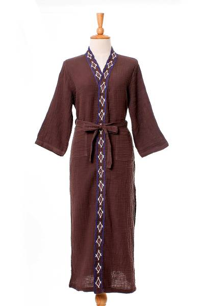 Diamond Embroidered Cotton Robe in Chestnut from Thailand