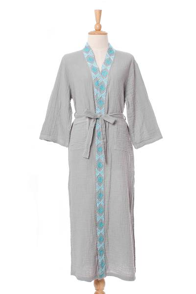 Diamond Embroidered Cotton Robe in Ash from Thailand
