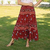 Rayon skirt, 'Poppy Garden' - Floral Rayon Skirt in Poppy Crafted in Thailand