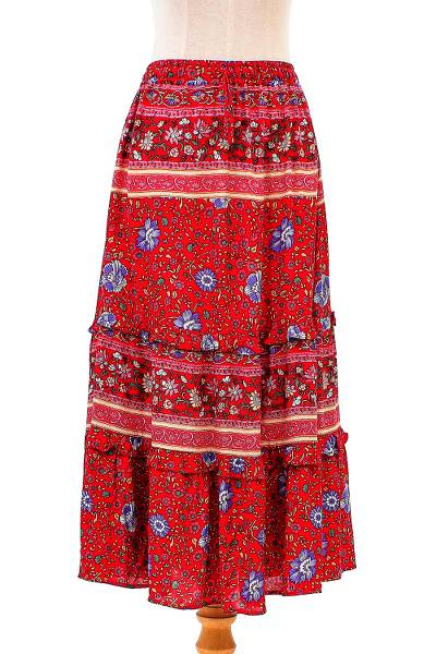 Floral Rayon Skirt in Poppy Crafted in Thailand