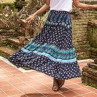 Rayon skirt, 'Tender Paisleys' - Indigo Paisley Motif Rayon Skirt Crafted in Thailand