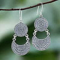 Sterling silver dangle earrings, 'Crescent Love' - Karen Silver Crescent Dangle Earrings from Thailand