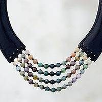 Agate beaded necklace, 'Mossy Mood' - Agate and Leather Beaded Necklace from Thailand
