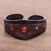 Multi-gemstone leather cuff bracelet, 'Orb Love in Red' - Multi-Gemstone Leather Cuff Bracelet in Red from Thailand