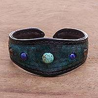 Multi-gemstone leather cuff bracelet, 'Orb Love in Green' - Multi-Gemstone Leather Cuff Bracelet in Green from Thailand