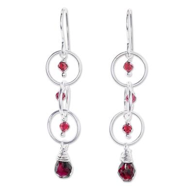 Natural Garnet and Sterling Silver Ring Dangle Earrings
