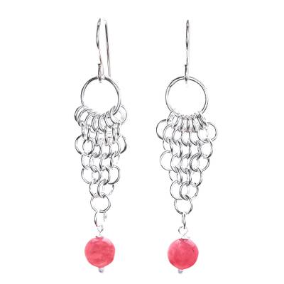 Pink Jade Dangle Earrings with Sterling Rings from Thailand