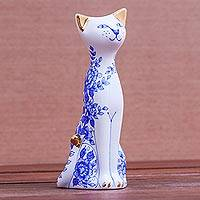 Gilded porcelain vase, 'Regal Cat' - Floral Gilded Porcelain Cat Vase from Thailand