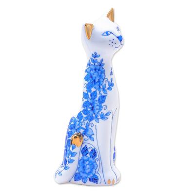 Floral Gilded Porcelain Cat Vase from Thailand
