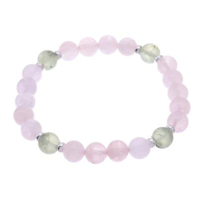 Rose Quartz and Prehnite Beaded Stretch Bracelet