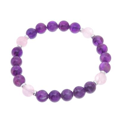 Amethyst and Rose Quartz Beaded Stretch Bracelet