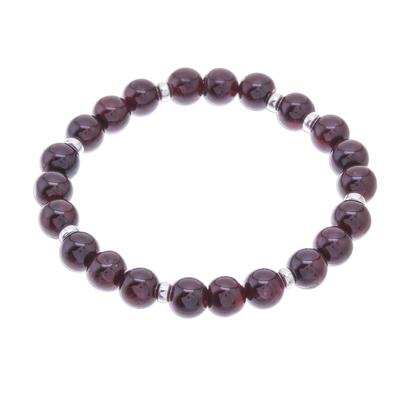 Natural Garnet Beaded Stretch Bracelet from Thailand