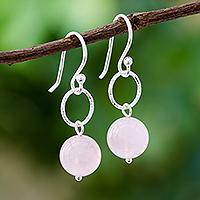 Rose Quartz Earrings-White Stone Earring-Rose Quartz Earrings-Stone Earrings-Genuine Rose Quartz Earrings-Lack Bank Earrings