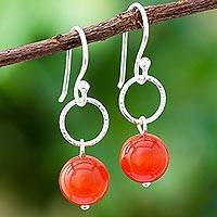 Carnelian dangle earrings, 'Ring Shimmer' - Round Carnelian Dangle Earrings Crafted in Thailand
