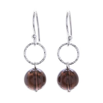 Round Smoky Quartz Dangle Earrings Crafted in Thailand