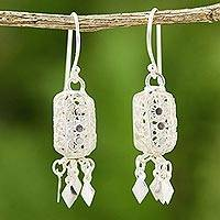 Sterling silver chandelier earrings, 'Floral Shine' - Sterling silver chandelier earrings
