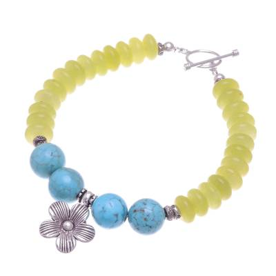 Yellow Agate Bracelet with Hill Tribe Silver Flower Charm