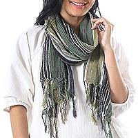 Hand woven cotton scarf, 'Bangkok Stripe in Green' - Batik Striped Cotton Scarf in Green Shades