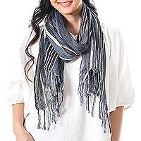 Hand woven cotton scarf, 'Bangkok Stripe in Blue' - Blue And White Striped Hand Woven Scarf