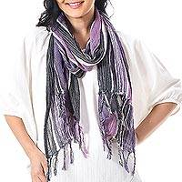 Hand woven cotton scarf, 'Bangkok Stripe in Purple' - Batik Cotton Scarf in Purple Stripes from Thailand