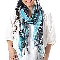 Hand woven cotton scarf, 'Bangkok Stripe in Sky' - Gauzy All Cotton Scarf in Blue Stripes